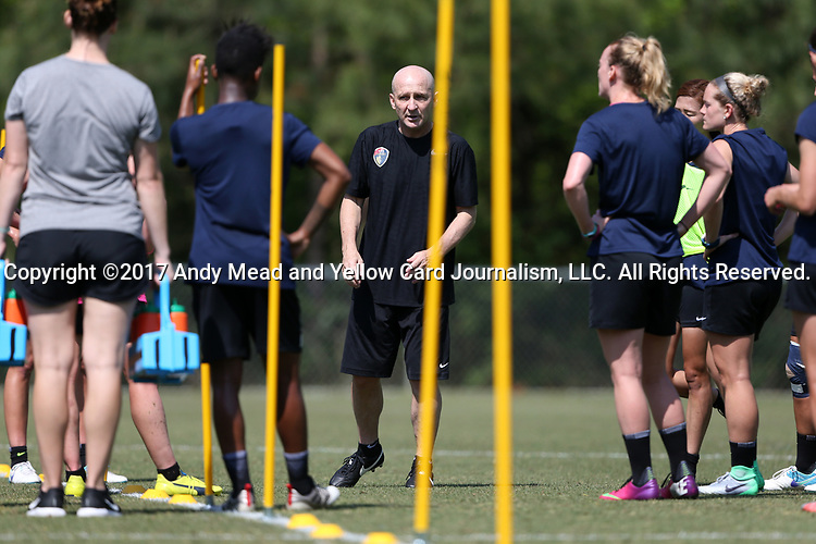 CARY, NC - APRIL 20: Head coach Paul Riley (ENG) (center) talks to his team. The North Carolina Courage held a training session on April 20, 2017, at WakeMed Soccer Park Field 7 in Cary, NC.