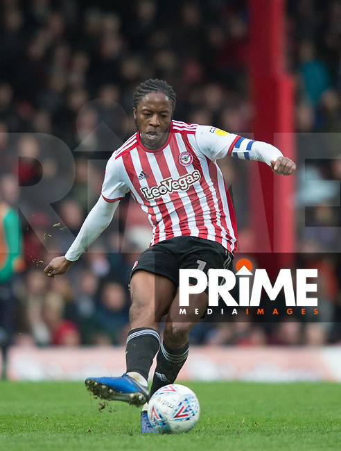Brentford Romaine Sawyers during the Sky Bet Championship match between Brentford and West Bromwich Albion at Griffin Park, London, England on 16 March 2019. Photo by Andrew Aleksiejczuk / PRiME Media Images.
