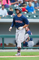 Deven Marrero (29) of the Pawtucket Red Sox jogs towards home plate after hitting a home run against the Charlotte Knights at BB&T Ballpark on August 10, 2014 in Charlotte, North Carolina.  The Red Sox defeated the Knights  6-4.  (Brian Westerholt/Four Seam Images)
