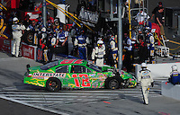 Mar 1, 2008; Las Vegas, NV, USA; Nascar Nationwide Series driver Kyle Busch heads into the garage after hitting the wall after blowing a tire during the Sams Town 300 at the Las Vegas Motor Speedway. Mandatory Credit: Mark J. Rebilas-US PRESSWIRE