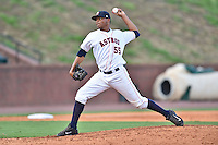 Greeneville Astros pitcher Alejandro Solarte (55) delivers a pitch during a game against the  Pulaski Yankees on July 11, 2015 in Greeneville, Tennessee. The Yankees defeated the Astros 9-3. (Tony Farlow/Four Seam Images)