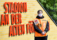 17th May 2020,Stadion An der Alten Försterei, Berlin, Germany; Bundesliga football, FC Union Berlin versus Bayern Munich;  Steward with protective mask in front of the stadium at the old Foersterei
