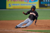 Jupiter Hammerheads Jose Devers (1) slides safely into third base during a Florida State League game against the Dunedin Blue Jays on May 15, 2019 at Jack Russell Memorial Stadium in Clearwater, Florida.  Dunedin defeated Jupiter 8-4 in nine innings, the second game of a doubleheader.  (Mike Janes/Four Seam Images)