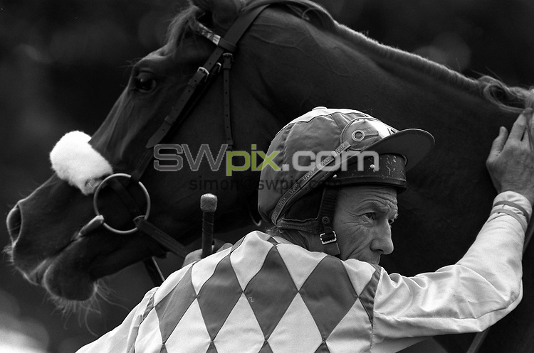 Pix: Michael Steele/SWpix.com. Lester Piggot, jockey. Doncaster 1991..COPYWRIGHT PICTURE>>SIMON WILKINSON>>01943 436649>>..Lester Piggot pictured at Doncaster races in 1991