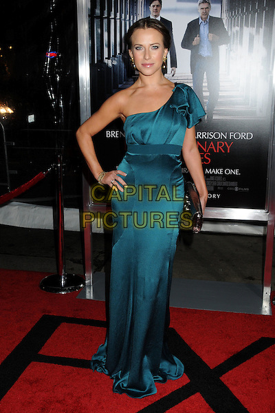 "EDYTA SLIWINSKA .""Extraordinary Measures"" Los Angeles Premiere held at Grauman's Chinese Theatre, Hollywood, California, USA, .19th January 2010..full length blue teal dress long maxi ruffle hand on hip one shoulder clutch bag .CAP/ADM/BP.©Byron Purvis/AdMedia/Capital Pictures."