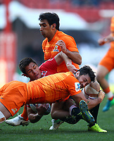 Javier Ortega Desio of the Jaguares tackling Harold Vorster of the Emirates Lions during the Super Rugby quarter-final match between the Emirates Lions and the Jaguares at the Emirates Airlines Park Stadium,Johannesburg, South Africa on Saturday, 21 July 2018. Photo: Steve Haag / stevehaagsports.com