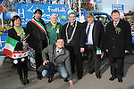 Grand Marshall Patsy Coleman with mayor of Ardee Michael Farrelly pictured with guests from Nettuno in Italy which is twinned with Ardee at the St. Patrick's day parade. Photo: Colin Bell/pressphotos.ie