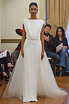 Model walks runway in a Penelope bridal gown from the Peter Langner Bridal collection 2017, at the 3 West Club on April 16, 2016 during New York Bridal Fashion Week Spring Summer 2017.
