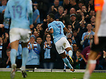 Raheem Sterling of Manchester City celebrates scoring the second goal during the Champions League Group F match at the Emirates Stadium, Manchester. Picture date: September 26th 2017. Picture credit should read: Andrew Yates/Sportimage