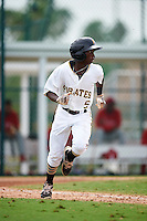 GCL Pirates shortstop Victor Ngoepe (5) runs to first during a game against the GCL Phillies on August 6, 2016 at Pirate City in Bradenton, Florida.  GCL Phillies defeated the GCL Pirates 4-1.  (Mike Janes/Four Seam Images)