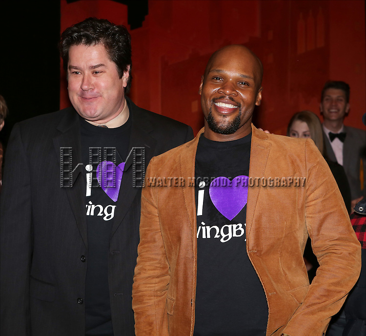 Merwin Foard and Michael James Scott attend the Broadway Opening Night Performance AEA Gypsy Robe Ceremony honoring Dennis Stowe for 'Aladdin' at the New Amsterdam Theatre on March 20, 2014 in New York City.