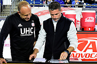 September 9, 2017 - Foxborough, Mass: New England Revolution head coach Jay Heaps (right) reviews his planner with assistant coach Tom Soehn before the MLS game between the Montreal Impact and the New England Revolution held at Gillette Stadium in Foxborough Massachusetts. Revolution defeat Impact 1-0. Eric Canha/CSM