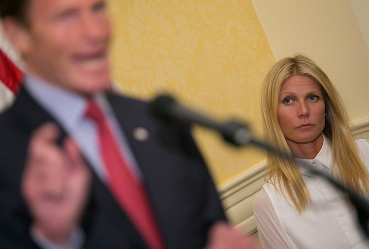 UNITED STATES - August 5: Actress Gwyneth Paltrow listens as Sen. Richard Blumenthal, D-Conn., speaks during a news conference to speak out against the The Denying Americans the Right-to-Know, DARK Act on GMO labeling in the Capitol, Wednesday, August 5, 2015. (Photo By Al Drago/CQ Roll Call)