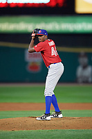 Buffalo Bisons relief pitcher Carlos Ramirez (40) gets ready to deliver a pitch during a game against the Rochester Red Wings on August 25, 2017 at Frontier Field in Rochester, New York.  Buffalo defeated Rochester 2-1 in eleven innings.  (Mike Janes/Four Seam Images)