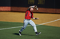 Gardner-Webb Runnin' Bulldogs right fielder Corey Howard (16) catches a fly ball into foul territory during the game against the Wake Forest Demon Deacons at David F. Couch Ballpark on February 18, 2018 in  Winston-Salem, North Carolina. The Demon Deacons defeated the Runnin' Bulldogs 8-4 in game one of a double-header.  (Brian Westerholt/Four Seam Images)