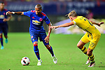 Manchester United winger Ashley Young (l) dribbling Borussia Dortmund defender Marcel Schmelzer (r) during the International Champions Cup China 2016, match between Manchester United vs Borussia  Dortmund on 22 July 2016 held at the Shanghai Stadium in Shanghai, China. Photo by Marcio Machado / Power Sport Images
