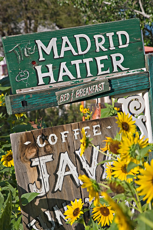 Sign for the Madrid Hatter coffee shop and bed and breakfast