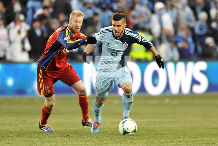 Kansas City, Kansas - Saturday, December 7, 2013: Sporting Kansas City defeated Real Salt Lake on penalty kicks after a 1-1 tie to win MLS Cup 2013 at Sporting Park.