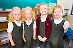 The two sets of twins who started school in Cromane on Monday were l-r; Amy & Ciara Costello with Kate & Alice O'Sullivan.
