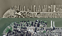 historical aerial comparison view 1954-2009 Hudson River piers, Battery Park City, New York City