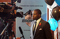 PICTURE BY STEVEN DEVONSHIRE/SWPIX.COM...Rugby League - Super League - London Broncos Rebranding Launch - London, England - 01/11/11…Martin Offiah speaks to Sky Sports regarding the rebranding and name change of Harlequins RL to London Broncos.
