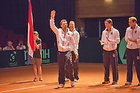 13-sept.-2013,Netherlands, Groningen,  Martini Plaza, Tennis, DavisCup Netherlands-Austria, First Rubber,  Presentation f the teams: Ned team Ltr: Jean-Julien Rojer, Captain Jan Siemerink, Jesse Huta Galung and Thiemo de Bakker  <br /> Photo: Henk Koster