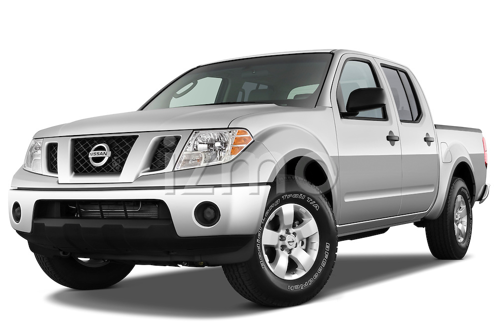 Low aggressive front three quarter view of a 2009 Nissan Frontier Crew Cab SE.