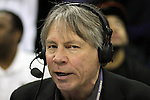 Bob Rondeau doing the radio broadcast during the Huskies Pac-10 conference home game against arch-rival Washington State at Bank of America Arena in Seattle, Washington, on January 30, 2010.