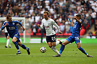 Christian Eriksen of Tottenham Hotspur and Riyad Mahrez of Leicester City during Tottenham Hotspur vs Leicester City, Premier League Football at Wembley Stadium on 13th May 2018