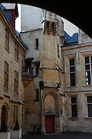 A view of the main court of the Hotel de Sens, in the Marais, Paris.  The building was the residence of the archbishops of Sens in the town from the end of the XIV century, and it has been entirely rearranged by one of them, Tristan de Salazar, at the end of the XV century. It has been restored at the beginning of 1900. Digitally Improved Photo