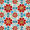 Granada Grande, a jewel glass waterjet mosaic shown in Gold Glass, Tiger's Eye, Garnet, Peacock Topaz, Quartz, and Aquamarine, is part of the Miraflores Collection by Paul Schatz for New Ravenna Mosaics.<br /> <br /> As seen in Elle Decor.