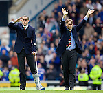 Dado Prso and Stefan Klos wave goodbye to the Ibrox home support as they leave Rangers