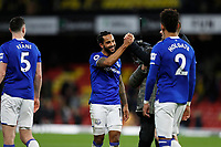 1st February 2020; Vicarage Road, Watford, Hertfordshire, England; English Premier League Football, Watford versus Everton; Theo Walcott of Everton smiling with his team mates after the final whistle