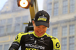Chris Juul Jensen (IRL/DEN) Mitchelton-Scott on stage at the team presentation in Antwerp before the start of the 2019 Ronde Van Vlaanderen 270km from Antwerp to Oudenaarde, Belgium. 7th April 2019.<br /> Picture: Eoin Clarke | Cyclefile<br /> <br /> All photos usage must carry mandatory copyright credit (&copy; Cyclefile | Eoin Clarke)