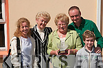 Noreen Savage, Lixnaw, winner of the Cailin Alainn Glamorous Granny competition at Lixnaw Festival on Sunday. From left, Philomena, Ann Healy, Noreen Savage (Glamorous Granny) and John Healy, with Ryan Gerard Healy in front..