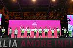 Team Dimension Data on stage at the Teams Presentation held in Piazza Maggiore Bologna before the start of the 2019 Giro d'Italia, Bologna, Italy. 9th May 2019.<br /> Picture: Fabio Ferrari/LaPresse | Cyclefile<br /> <br /> All photos usage must carry mandatory copyright credit (&copy; Cyclefile | Fabio Ferrari/LaPresse)