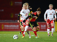 20161128 - TUBIZE ,  BELGIUM : Belgian Sara Yuceil (R) and Danish Pernille Harder (L)   pictured during the female soccer game between the Belgian Red Flames and Denmark , a friendly game before the European Championship in The Netherlands 2017  , Monday 28 th November 2016 at Stade Leburton in Tubize , Belgium. PHOTO SPORTPIX.BE | DIRK VUYLSTEKE