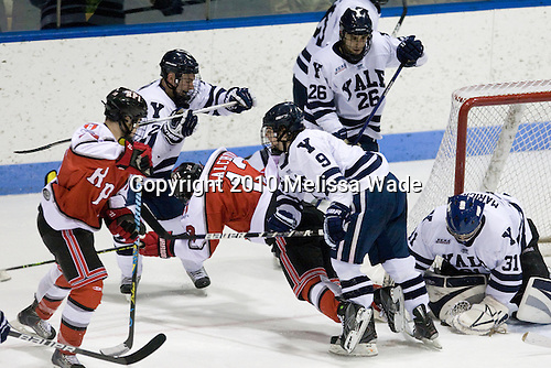 Alex Angers-Goulet (RPI - 18), Joel Malchuk (RPI - 13), Brian O'Neill (Yale - 9), Nick Maricic (Yale - 31) - The Rensselaer Polytechnic Institute (RPI) Engineers defeated the Yale University Bulldogs 4-0 on Saturday, January 30, 2010, at Ingalls Rink in New Haven, Connecticut.