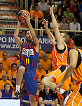 Baloncesto Fuelabrada's Ferran Lavina (r) and FC Barcelona Regal's Juan Carlos Navarro during Liga Endesa ACB match.October 30,2011. (ALTERPHOTOS/Acero)