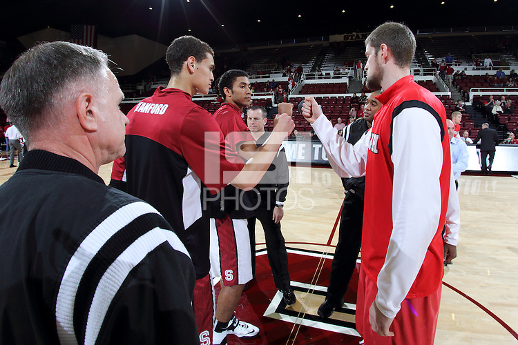 STANFORD, CA - March 8, 2014: Stanford Cardinal captains Dwight Powell and Josh Huestis before Stanford's 61-60 victory over Utah at Maples Pavilion.