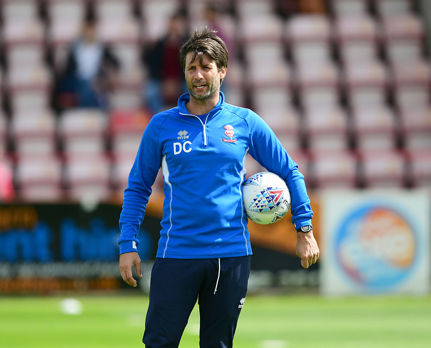 Lincoln City manager Danny Cowley during the pre-match warm-up <br /> <br /> Photographer Chris Vaughan/CameraSport<br /> <br /> The EFL Sky Bet League Two - Exeter City v Lincoln City - Saturday 19th August 2017 - St James Park - Exeter<br /> <br /> World Copyright &copy; 2017 CameraSport. All rights reserved. 43 Linden Ave. Countesthorpe. Leicester. England. LE8 5PG - Tel: +44 (0) 116 277 4147 - admin@camerasport.com - www.camerasport.com