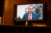 """Dr. Logan C. Hampton, president of Lane College in Jackson, Tennessee, testifies through teleconference during the US Senate Health, Education, Labor, and Pensions Committee hearing titled """"COVID-19: Going Back to School Safely"""" on Capitol Hill in Washington, DC on Thursday, June 4, 2020.<br /> Credit: Ting Shen / CNP/AdMedia"""