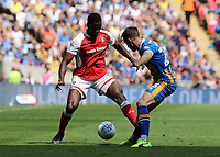 27th May 2018, Wembley Stadium, London, England;  EFL League 1 football, playoff final, Rotherham United versus Shrewsbury Town;  Alex Rodman of Shrewsbury Town making Josh Emmanuel of Rotherham United