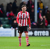 Lincoln City's Tom Pett celebrates at the final whistle<br /> <br /> Photographer Andrew Vaughan/CameraSport<br /> <br /> The EFL Sky Bet League Two - Lincoln City v Crewe Alexandra - Saturday 6th October 2018 - Sincil Bank - Lincoln<br /> <br /> World Copyright &copy; 2018 CameraSport. All rights reserved. 43 Linden Ave. Countesthorpe. Leicester. England. LE8 5PG - Tel: +44 (0) 116 277 4147 - admin@camerasport.com - www.camerasport.com