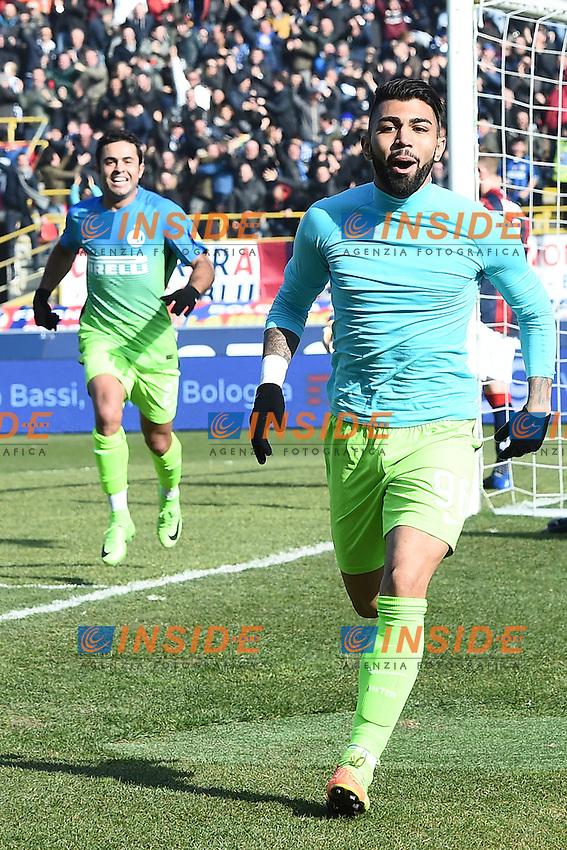 Gabriel Barbosa Esultanza Gol Goal celebration <br /> Bologna 19-02-2017 Stadio Dall'Ara Football Calcio Serie A 2016/2017 Chievo Bologna - Inter. Foto Image Sport / Insidefoto