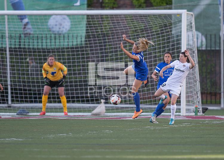 Allston, Massachusetts - June 1, 2014:  The Boston Breakers (blue) led the Washington Spirit (white), 2-1 at half time in a National Women's Soccer League Elite (NWSL) match at Harvard Stadium.
