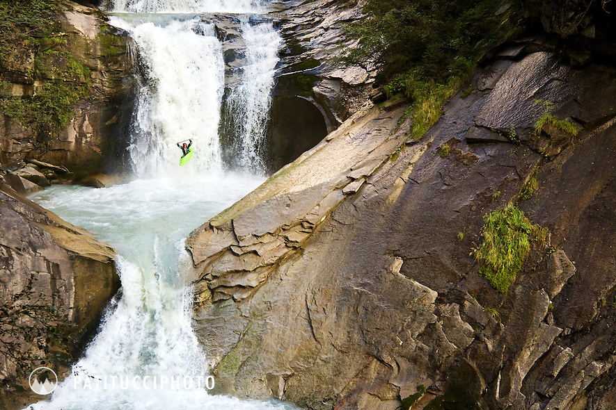 Ivan Puntel kayaking through waterfalls on the Rio di Riva, in the Val Aurina, Sud Tirol, Italy