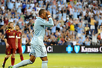 Sporting KC forward Teal Bunbury celebrates his goal as if he has binoculars... Sporting Kansas City defeated Real Salt Lake 2-0 at LIVESTRONG Sporting Park, Kansas City, Kansas.
