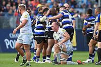 Bath Rugby players celebrate a penalty with team-mate Beno Obano. Aviva Premiership match, between Bath Rugby and Saracens on September 9, 2017 at the Recreation Ground in Bath, England. Photo by: Patrick Khachfe / Onside Images