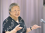 Koko Kondo, a survivor of the 1945 atom bomb dropped on Hiroshima, Japan, talks on August 7, 2015, to a delegation of church leaders from around the world who have come to see for themselves the suffering caused by the bomb, to listen to the survivors and to local church leaders, and to return home recommitted to advocating for an end to nuclear weapons. The delegation of pilgrims was organized by the World Council of Churches. Kondo is a well-known hibakusha, or atom bomb survivor, who along with her father is mentioned in John Hershey's landmark book about the horror of Hiroshima.